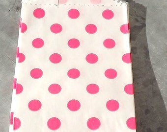 Paper Bags Hot Pink Polka Dot Little Bitty Bags Set of 10