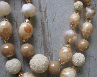 Vintage Shades of Beige Beads from Hong Kong