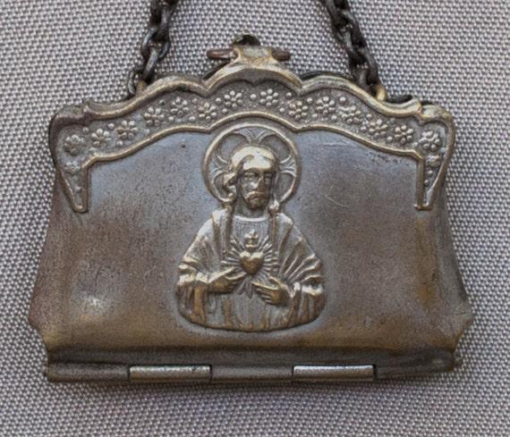 Antique Sacred Heart of Jesus French Souvenir Purse Book Locket