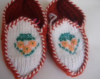 Brick white Hand knitted slippers adult women slippers large size 8
