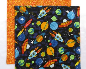 Cloth Napkin, Kids Lunchbox Napkin, Outer Space Napkin, Spaceships, 1 double sided fabric napkin for boys