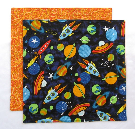 Cloth napkin kids lunchbox napkin outer space napkin for Kids space fabric