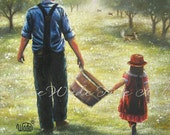 Dads Helper Print - dad, daughter, farmer, father and daughter, apple orchard, paintings, grandpa
