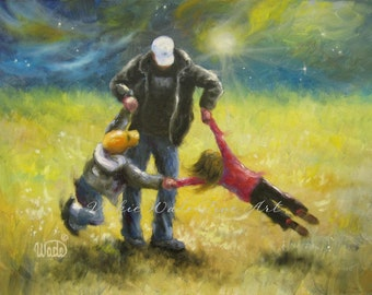 Playing With Dad Art Print, dad son and daughter wall art, kids art, father brother sister, spinning children, wall decor, Vickie Wade art