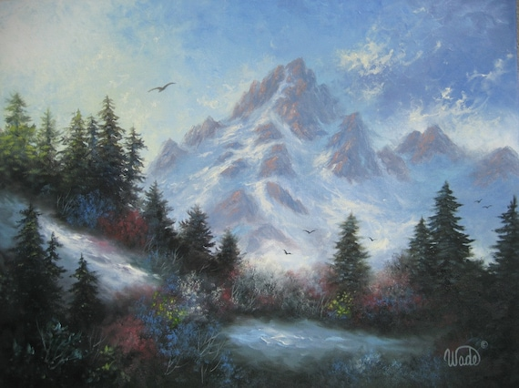 Snowy Mountain Original Oil Painting 18X24, mountain paintings, landscape, snow scene, mountain wall art, Vickie Wade Art