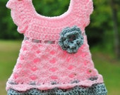 Baby girl Pink gray dress Newborn outfit Infant flowers Wedding Baptism Take home Christening Shower gift Baptism Photo prop Blessing