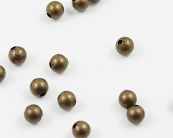 Antiqued gold plated 3mm smooth round beads (500)