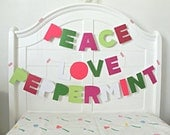 Peace Love Peppermint Sewn Glitter Paper Sentiment Banners Christmas Holiday Tree Garland / Bold Holiday Decor