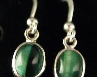 Sterling Silver and Green Tigereye  Drop Earrings
