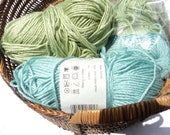yarn destash 2 plus cotton full skeins rolls AQUA  sage