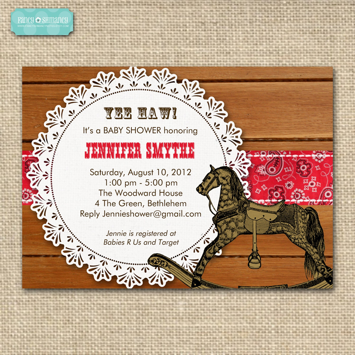 western themed baby shower invitation by fancyshmancynotes