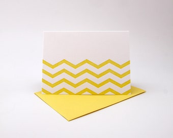 Letterpress Card - Yellow Chevron (Individual Card)
