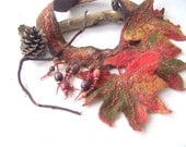 Fall leaf Felted  necklace -  Autumn leaves fall green orange brown
