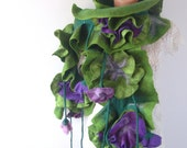 Felted  ruffle scarf  collar - Green Purple flower