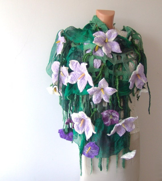 Nuno felted scarf - purple flowers green leaves