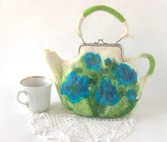 Felted purse teapot White blue flowers