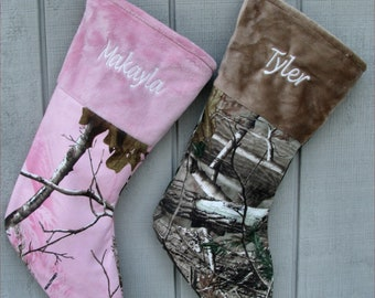 Realtree Camo Christmas Stockings Pink or Brown - Personalized Embroidered