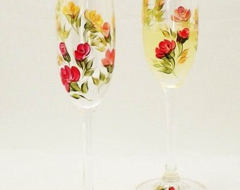 Hand-Painted Champagne Glasses - Roses of Red, Orange, Peach with Multi Color Leaves, CRYSTAL Flutes Set of 4 - Autumn Summer Wedding Summer