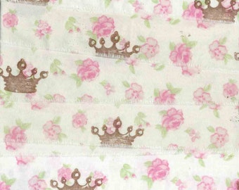 Crowns pink roses  hand stamped muslin princess ribbon shabby cottage c508 . ....oohlala