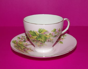 Vintage China Tea Cup and Saucer, Pink Flowers, Green Leafs, Old Royal, Bone China, 1945 to 1963