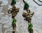 Green Buddha Beads with Gold Aluminum Handmade Wirework with Green Art glass Beads