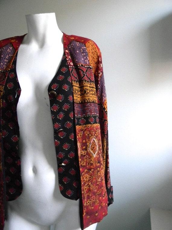 vintage. CAROLE LITTLE Red Tribal Print Blazer / Small Medium