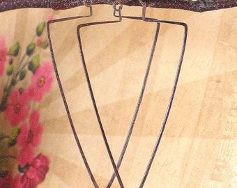 Blue Wave Jewelry Hoops, 14k Rose Gold Earrings, Large Triangle Hoops, Geometric Earrings, Boho Jewelry, Boho Earrings, Modern Earrings, USA