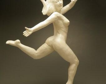 Dancer Leaping in Joy, Ceramic Nude Figure Sculpture, Levitation Art Figurine Celebration, Erotic Statue, Mature