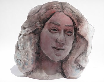 Glass Art Face Mask Sculpture Goddess Bust of A Woman, Lucid Dreamer with Lovers in Her Hair