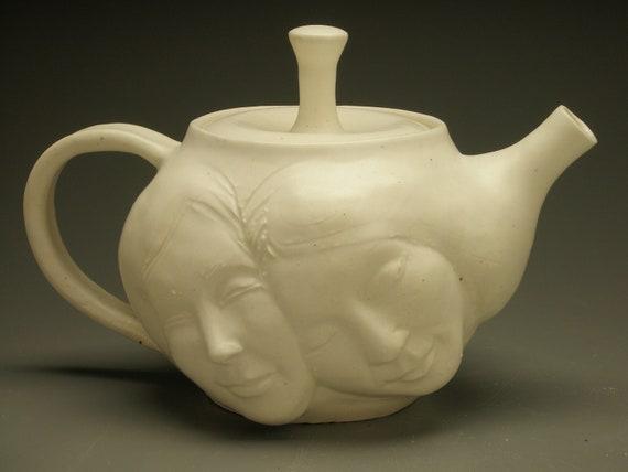 Lovers Teapot, Porcelain Relationship Face Pot Sculpture with Healing Hands