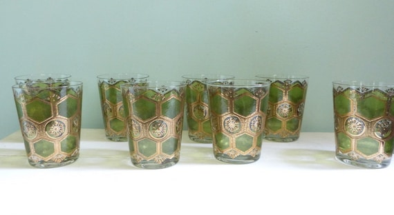 Vintage Green and Gold Glasses Mid Century Barware Rocks Glasses Hexagon Pattern Set of Eight Marked Washington