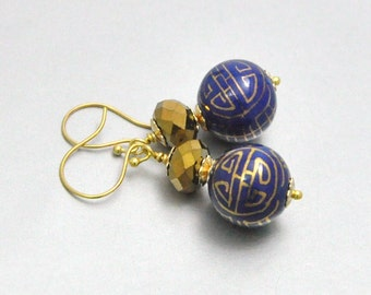 Navy and Gold Vintage Bead Earrings - Asian Fusion