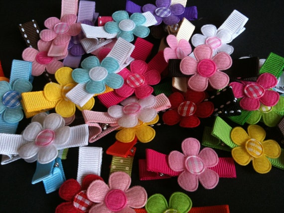 50 Assorted Flower Hair Clips-Non Slip Hair Clips -Partially Lined Bulk Wholesale Hair Clips