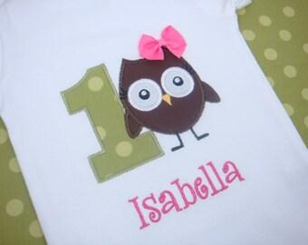 Owl Birthday Shirt - Girls Owl Birthday Shirt - Toddler Birthday Shirt - Look Who's One Birthday