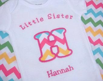 Little Sister Shirt - Sisters Shirt - Big Sister Little Sister - Little Sister Chevron - Rainbow Chevron Sister shirt