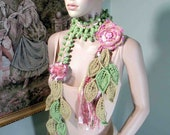 TRENDY SCARF/LARIAT - 2012 Collection, Skinny Extra Long, Handmade Detachable Flower Brooch