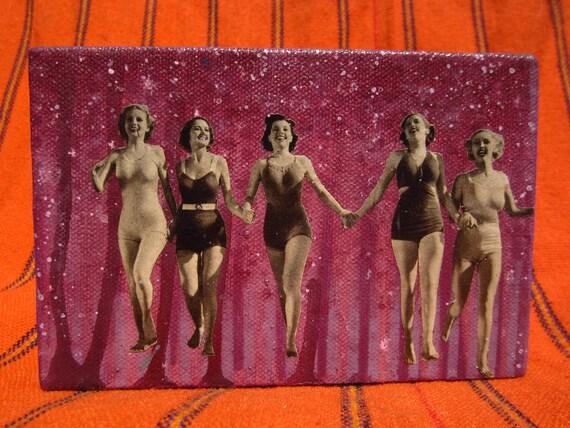 sisters - original painting w vintage collage