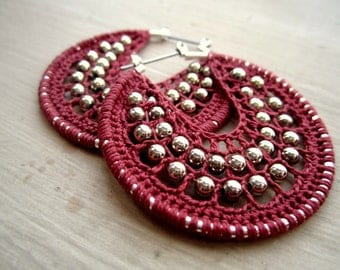 Crocheted hoops with beads in rust pink