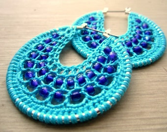 Crocheted hoops in turquoise and purple color beads