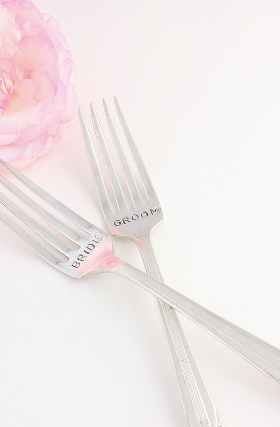 Bride and Groom Wedding Forks Bouquet 1939. Cottage Chic Hand Stamped Wedding Table setting