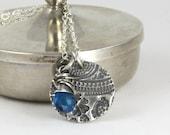 Sterling Silver Breathe Om Mehndi Necklace Reversible Blue Apatite Gemstone