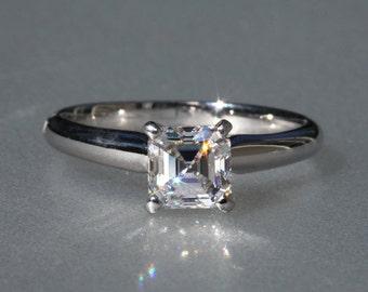 CERTIFIED Asscher Cut Solitaire - 1.00 carat - Diamond Engagement Ring 14K White Gold - engagement - Bps01