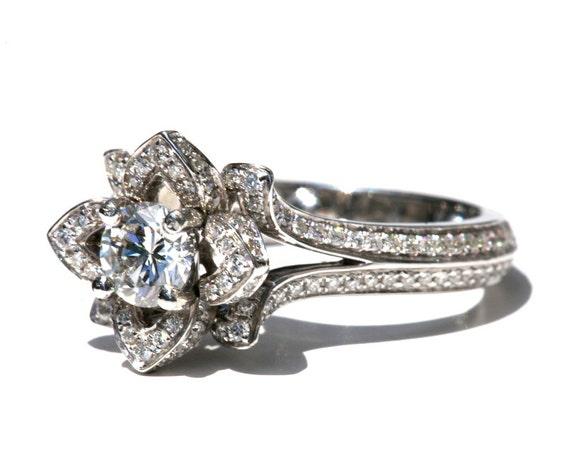 Two Rows - UNIQUE Flower Rose Diamond Engagement Ring - 2.00 carat - 14K white gold - wedding - brides - custom made - art deco - fL05