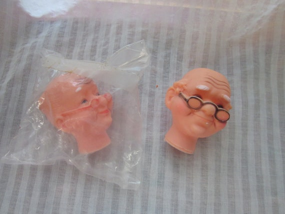 Kci Old Man And Old Woman Doll S Heads Vintage By