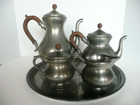 Royal Holland Pewter Tea and Coffee Service Set 6 Pieces 1930s Vintage