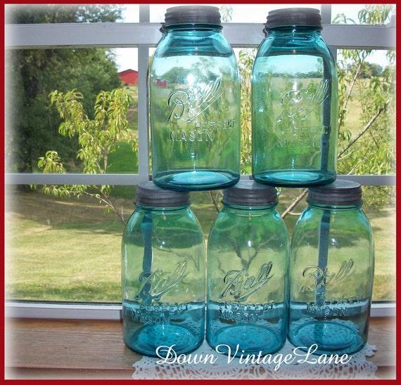 5 Blue Ball Perfect Mason HALF GALLON Jars Vintage