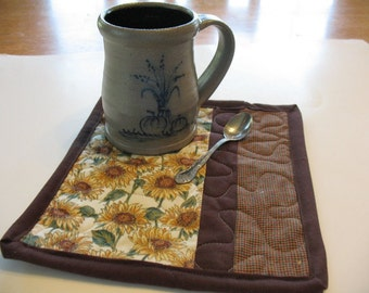 Quilted Sunflower Mug Rugs or Personal Mat Coasters