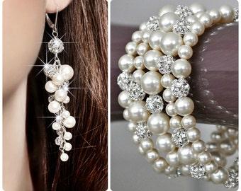 Statement Wedding Jewelry SET, Art Deco Wedding Jewelry SET, Pearl and Rhinestone Swarovski Jewelry SET