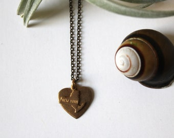 My New York Heart....Vintage Brass Charm Necklace with Free Custom Engraving on back