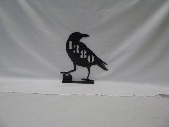 Juvenile Crow 002 Mailbox Topper with Address Metal Wildlife Yard Art Silhouette